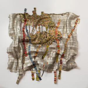 El Anatsui Strained Roots  2014 Aluminum and copper wire. Dimensions variable  Photo Jonathan Greet  Image courtesy October Gallery