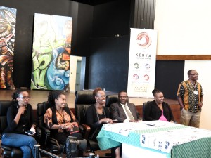 KCC Press Conference Friday April 10  - Wambui Kamiru artist, Lydia Galavu art curator nmk, Judy Ogana Director of GoDown, Dr. Hassan Wario  Arero C