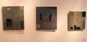 BBDImage 15, A Display Wall, Milk Feet and Two Yellow Spots, Hands and Yellow Mark, and _Albonet 2_, oil on canvas, 2013