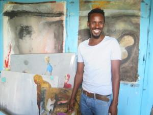 Shabu Mwangi at his Studio in Guantanamo Slum