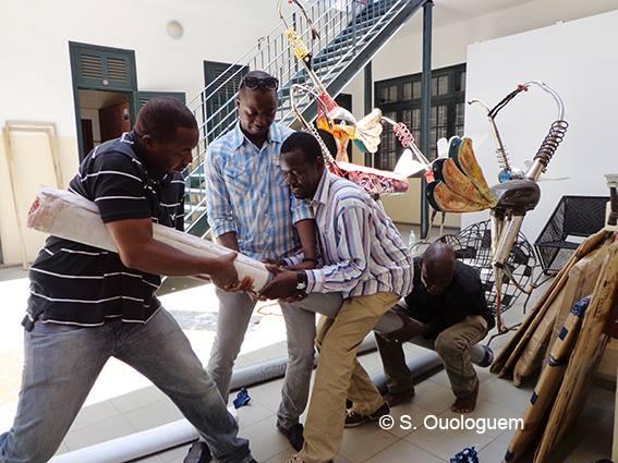 MaliArtists installation of Exhibition 'Promenade à Bamako' Dak'Art OFF 2016, Eiffage, Dakar