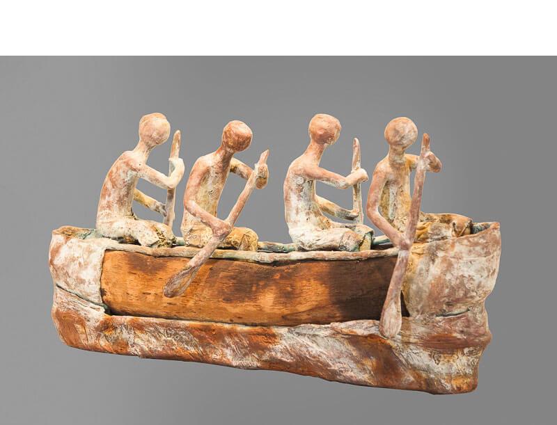 Boukaré Bonkoungou - Les aventuriers - 2015 - 24x43x16cm - bronce y madera recuperada