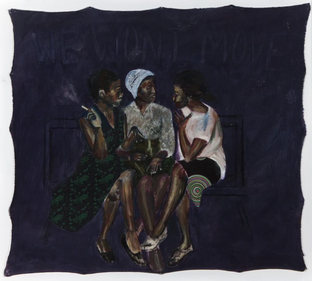 Neo Matloga, Bo mma sebotsana, 2017, oil on collage on canvas, 145x160 cm, courtesy Christopher Moller Gallery (2)