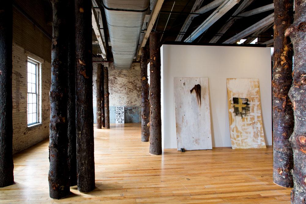 Installation view of Allison Janae Hamilton: Pitch