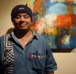 AfricanahHussein Halfawi (1969) at his exhibition at Talisman Restaurant which runs until Sunday October 26th