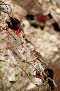 El Anatsui AG & BA detail 4 2014 Installation Aluminium   and copper wire and nylon string dimensions variable Photo Jonathan Greet courtesy October Gallery(1)