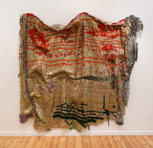 El Anatsui, Testimonial  2014, Aluminium and copper wire  277 x  324 cm Jonathan Greet Image courtesy October Gallery London