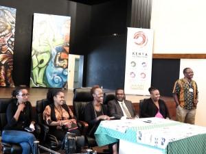 KCC Press Conference Friday April 10  - Wambui Kamiru artist, Lydia Galavu art curator nmk, Judy Ogana Director of GoDown, Dr. Hassan Wario  Arero C