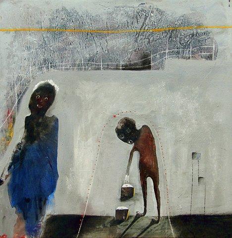 Shabu Mwangi 'Yellow Line' mixed media on canvas  83 x 83 cm