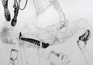 Nidhal Chamekh Dessin n°6. Encre et graphite sur papier. 42 x 60 cm. 2012