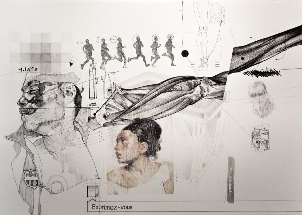 Nidhal Chamekh Dessin n°8. Encres, graphite et transfert sur papier. 42 x 60 cm. 2013