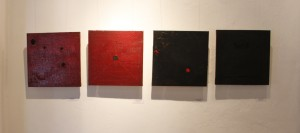 BBDImage 21, Two Pairs Red and Black, (an extension to Center of Interest, Keseel Ena Berbere _Charcoal and Pepper_), 30 x 30 cm., Oil on Canvas, 2014