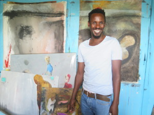 Shabu Mwangi at his Studio in Guantanamo Slum