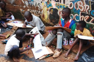 Craig9Children Art Workshop outside M2 art centrePhoto courtesy of Harambee Arts.