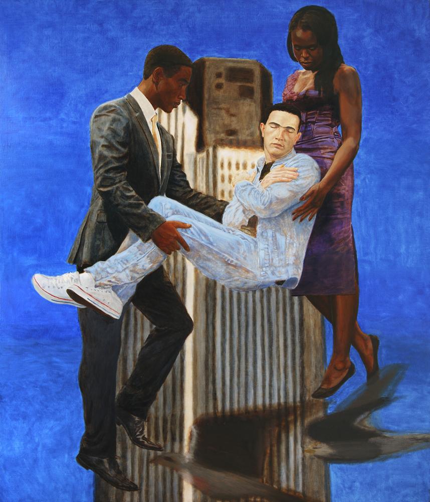 Kimathi Donkor, Jean Charles de Menezes Borne Aloft by Joy, Gardner and Stephen Lawrence, 2010