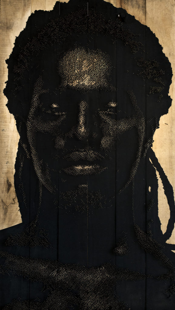 Alexis Peskine, Boy Dakar, 2016. Moon gold leaf, Nails, lacquer & varnish on Carriage (steel & wood), 4' x 8' x 4'. Image the artist, Courtesy October Gallery.