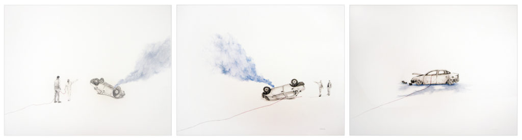 Massi(walk under a white sky). Triptych. 2015.