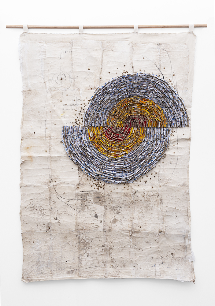 WallenMapondera_Moving-Target_2019_Cardboardwaxed-thread-and-wax-paper-on-canvas_126-x-180-cm_Front_LR