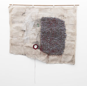 WallenMapondera_Untitled_2019_Cardboardwaxed-thread-and-wax-paper-on-canvas_152-x-217-cm_Front_LR