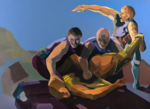 NiritBeating the Israeli soldier. Oil on canvas, 180x250 cm, Nirit_Takele 2015 - Nirit Takele-2