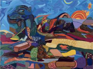 TichaSunset Over Camel, Richard Mzamane Mabaso (1950 -) Oil on board 56cm x 77cm 1985, Fort Hare University Art Collection