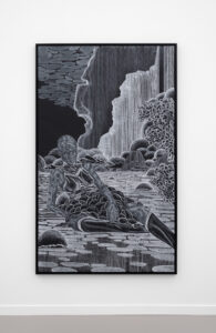ToyinA Pull_at_the_Back_of_the_Mind, 84 X 50 inches, 2019, courtesy Jack Shainman