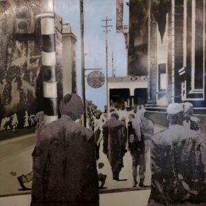 Kramer_ Jozi Walkers (Market Street), 2019_Oil Paint and Print on Steel_ 1200 x 1140mm